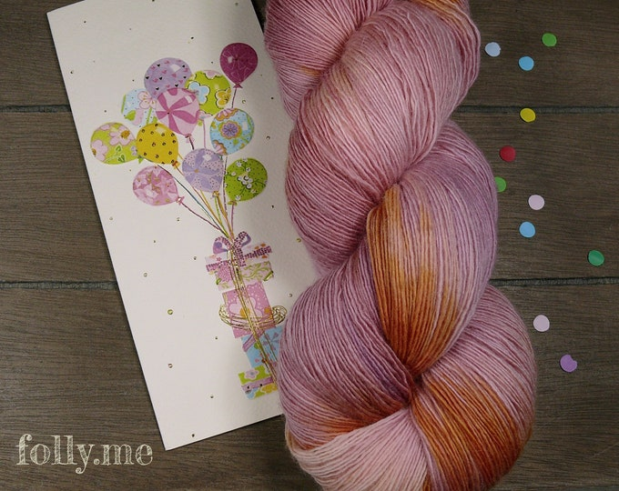 LOLLYPOP - Merino Lace pflanzengefärbt von folly.me, handgefärbtes Singlesgarn, Single reine weiche Wolle, Lauflänge 800 Meter