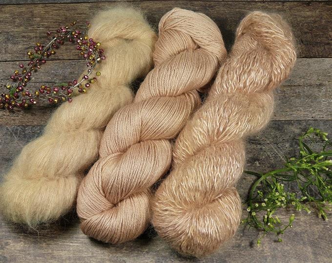 Luxury Set 250gr SANFTE APRIKOSE  (100gr/EUR 28):  50gr Alpaca Silk Lace und 100gr Merino Silk und 100gr Silk Mohair - natürlich gefärbt