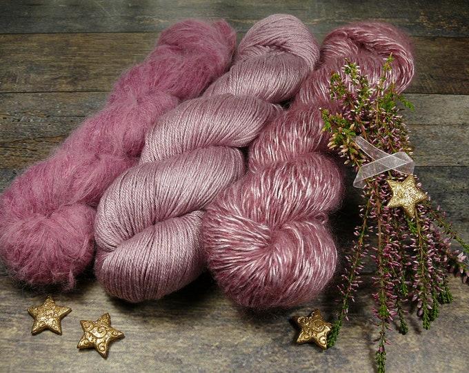 Luxury Set 250gr GLÜHWEIN (100gr/EUR 27,20):  50gr Alpaca Silk Lace und 100gr Merino Silk und 100gr Silk Mohair - natürlich gefärbt