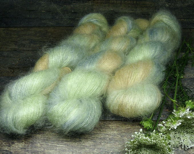 PEPPERERMINT - 50gr Kidsilk Lace (100gr/EUR 43), Kidmohair & Seide pflanzengefärbt, edles Lacegarn mit Mohair, Lauflänge 420 Meter