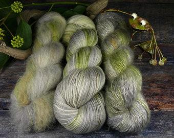 Luxury Set 250gr EIS im SEE (100gr/EUR 28):  50gr Alpaca Silk Lace und 100gr Merino Silk und 100gr Silk Mohair - natürlich gefärbt