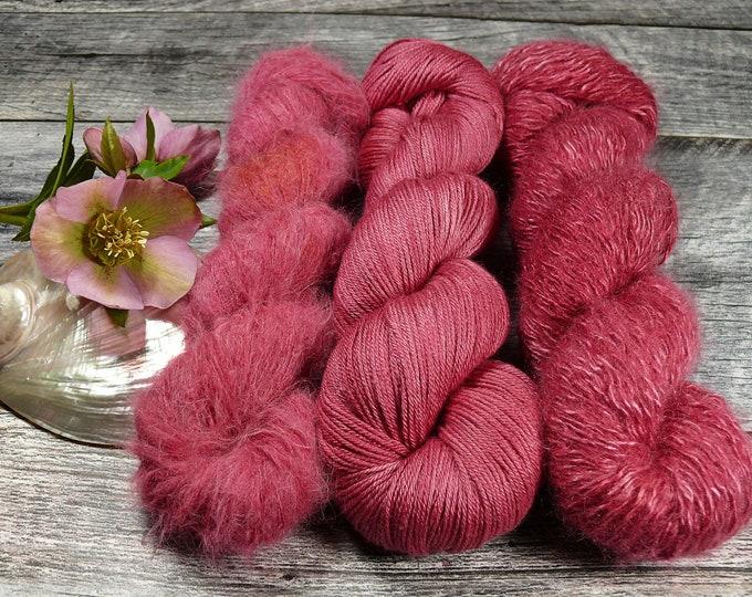 Luxury Set 250gr WILDROSE (100gr/EUR 28):  50gr Alpaca Silk Lace und 100gr Merino Silk und 100gr Silk Mohair - natürlich gefärbt