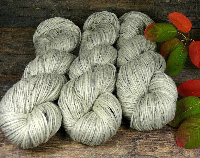 GRIS - Biowolle mit Leinen, ungefärbte Wolle, gewalktes Dochtgarn, weiches Biogarn mit Leinen