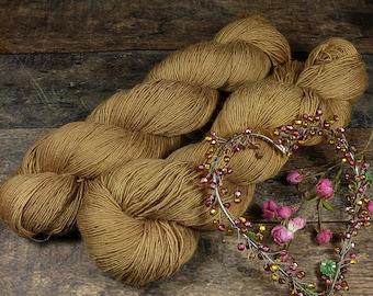 PAKO OCKER - 115gr Merino Alpaka Seiden Singlesgarn (100gr/EUR 23,04), natürlich handgefärbtes Edelgarn, rein mit Pflanzen gefärbt
