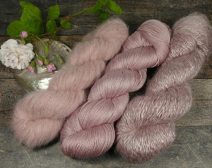 Luxury Set 250gr SILBERBEERE (100gr/EUR 28):  50gr Alpaca Silk Lace und 100gr Merino Silk und 100gr Silk Mohair - natürlich gefärbt