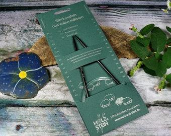 EBENHOLZ Rundstricknadel von HOLZ & STEIN, Stärke 4mm bis 6mm, verschiedene Seillängen, Stricknadeln aus deutscher Herstellung