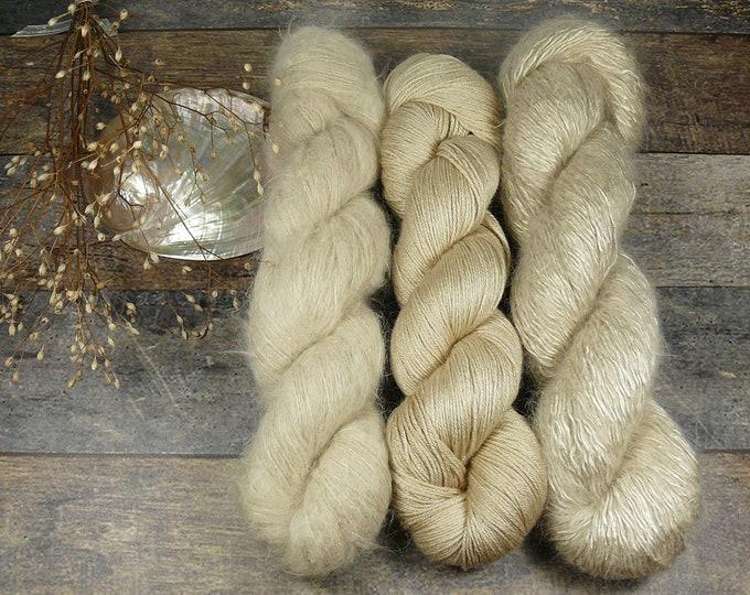 Luxury Set 250gr PERLENGLANZ  (100gr/EUR 27,20):  50gr Alpaca Silk Lace und 100gr Merino Silk und 100gr Silk Mohair - natürlich gefärbt