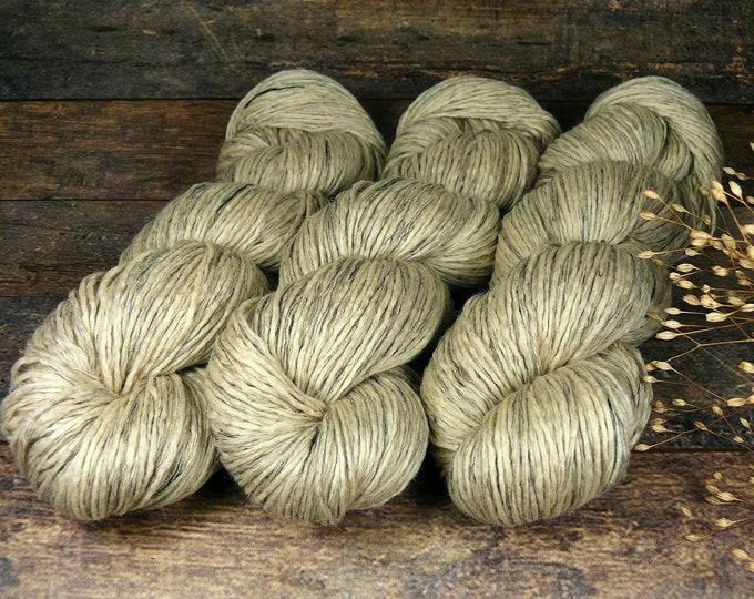 PEARL - Biowolle mit Leinen, pflanzengefärbte Wolle DK, gewalktes Dochtgarn, natürlich handgefärbte Wolle,