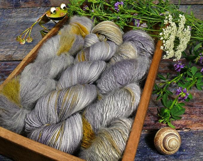 Luxury Set 250gr STURM  (100gr/EUR 28):  50gr Alpaca Silk Lace und 100gr Merino Silk und 100gr Silk Mohair - natürlich gefärbt