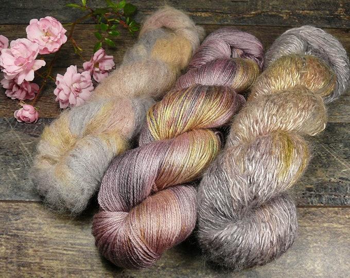 Luxury Set 250gr LETZTE ROSE (100gr/EUR 27,20):  50gr Alpaca Silk Lace und 100gr Merino Silk und 100gr Silk Mohair - natürlich gefärbt