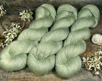 GRETA GLETSCHER - Merino Mohair Singlesgarn, Merino & Kidmohair pflanzengefärbt, pflanzengefärbte Wolle, Lauflänge 400 Meter