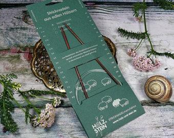 VEILCHENHOLZ Rundstricknadel von HOLZ & STEIN, 2,5mm bis 3,75mm, verschiedene Seillängen, Stricknadeln aus deutscher Herstellung