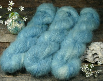 WÖLKCHENHIMMEL - Suri Alpaka Silk Lace 50gr (100gr/EUR 44) pflanzengefärbt, Suri Alpaka & Seide, Pflanzenfärbung, Lauflänge 300m