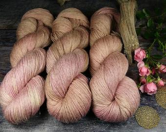JUULI ROSENHOLZ - Bio Merino Leinen 466m Lauflänge, handgefärbte  Wolle, mulesingfreie Wolle, pflanzengefärbt