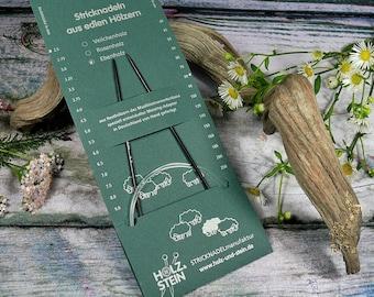 EBENHOLZ Rundstricknadel von HOLZ & STEIN, 2,5mm bis 3,75mm, verschiedene Seillängen, Stricknadeln aus deutscher Herstellung