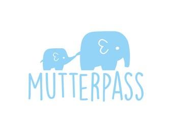 Bügelbild Mutterpass Elefanten in Wunschfarbe
