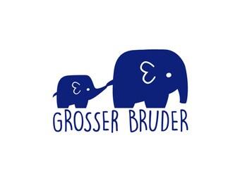 Bügelbild großer Bruder mit Elefant in Wunschfarbe