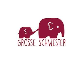 Bügelbild große Schwester Elefanten in Wunschfarbe