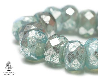 CG-172 Czech Glass Beads 10 Light Blue Roller Beads with Mercury Finish 6x9mm Large Hole Beads Faceted Glass Tire Rondelles