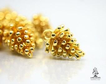 754e059edb7 Light Gold Pine Cone Charms