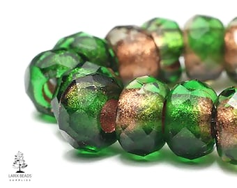 Faceted Glass Tire Rondelles Large Hole Beads Czech Glass Beads 6x9mm 10 Light Green Roller Beads with Copper Lining CG-168