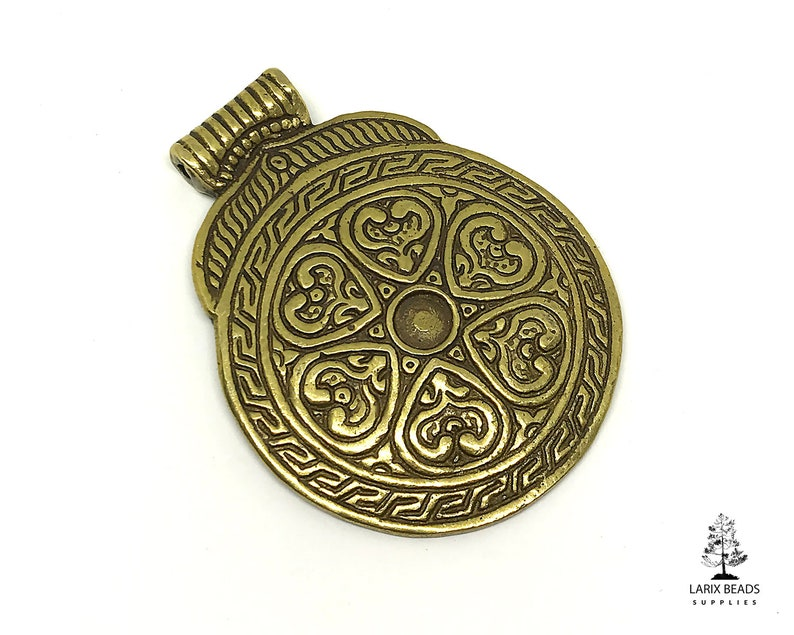 1 Ethnic Medallion Pendant 50x64mm Tribal Boho Pendant Large Brass Pendant Jewelry Accesory AF-03 Round Brass Pendant for Necklace