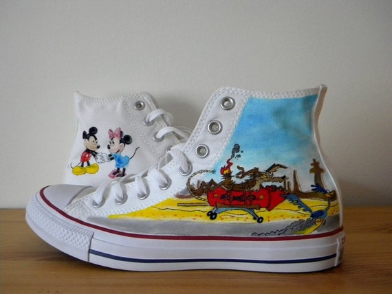 Hand painted The Road Runner Show Converse Shoes