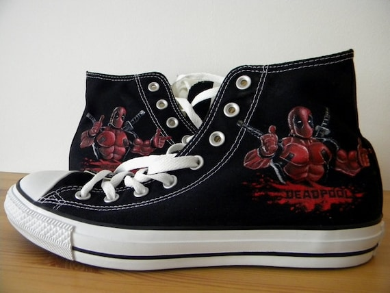 b3aba68d705 Hand Painted Deadpool Converse Shoes