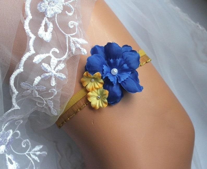 b9d5811278f9b Sock band Wedding Blue yellow application flower wedding garter lace some  blue bridal garter