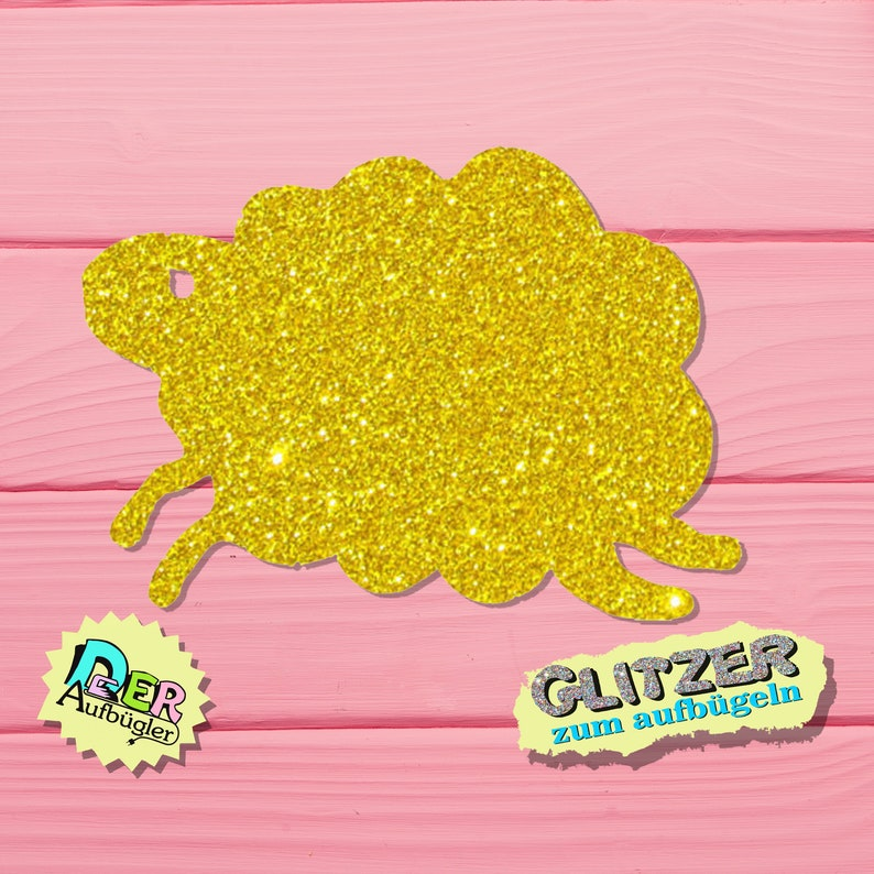 Glitter ironing picture sheep or lamb in 24 colors