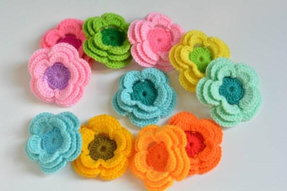 20 x Handmade Crochet foglie di colore verde taglia 5 cm
