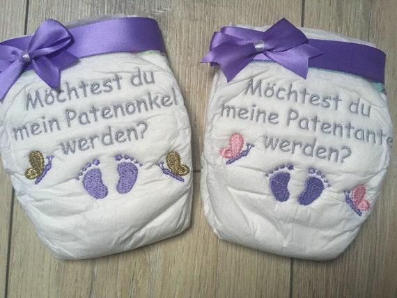 Baby Wolcke Bestickte Windel Patentantepatenonkel Mit Name