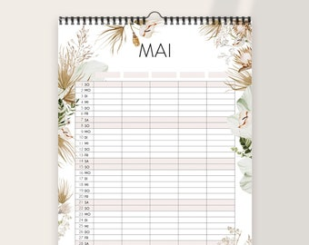 Family Calendar 2022 - A3 with 5 columns - good things are coming - Boho Flowers Birthday Calendar Family Planner Annual Planner