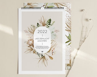 Wall Calendar 2022 A4 – Let your light shine - Boho Birthday Calendar Calendar Annual Planner Annual Calendar Weekly Planner