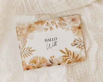 Baby Diary HELLO WORLD - Floral Edition - My first 1st year baby book Baby album diary Baby Mama child memory book photo album