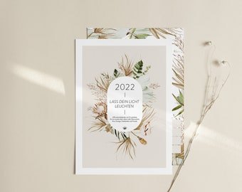 Wall Calendar 2022 - Let your light shine - DIN A4 - Affirmations - Boho Style Dry Flowers - Courage Calendar Family Planner - Encouragement