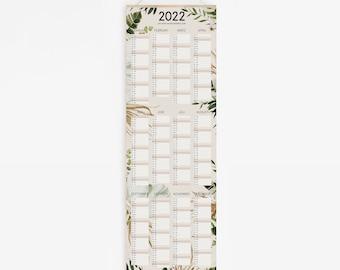 Poster Calendar 2022 - LEAVES - Floral Dry Flower Wallhanging Calendar Poster Pampas Hydrangea Dry Flower Planner Annual Planner Wall Calendar