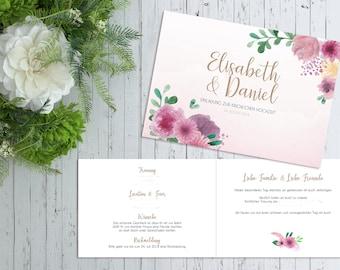 Einladung Hochzeit Boho Floral Rosa Eukalyptus