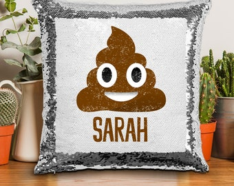 Poop Emoji Sequin Pillow 9cd8c6c84