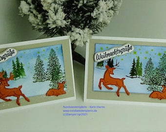 Christmas card / Christmas greetings / Map with winter landscape and reindeer