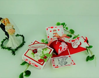 Explosion box - Wedding - with congratulations - Money gift in basic white, vanilla pure designer paper with hearts