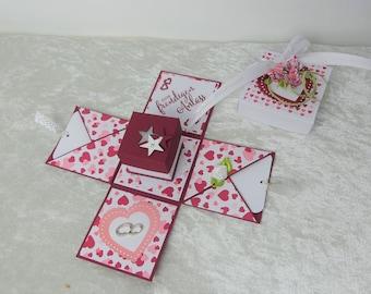 Explosion Box Wedding | Money Gift | Decorative box | DSP motif Color of love -white/ chili