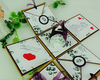 Explosion box - Wedding - with congratulations - Money gift in carton, blackberry mousse, basic white