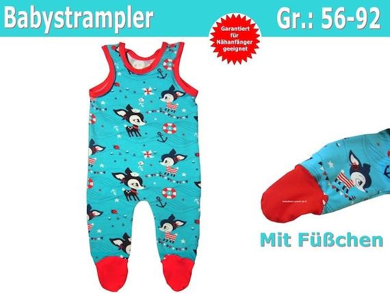 Schnittmuster Baby Strampler mit Füßen inkl. Nähanleitung | Etsy