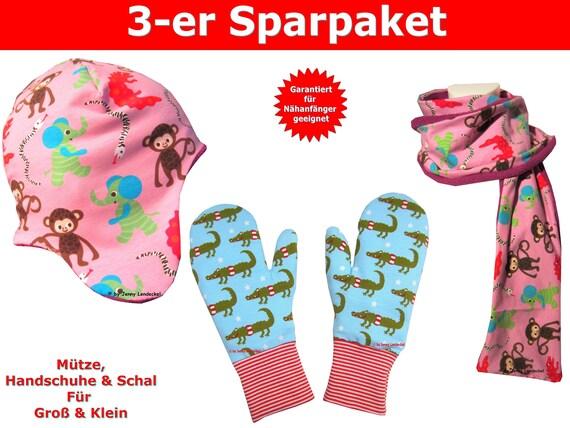 Schnittmuster Handschuhe Mütze und Schal inkl. Nähanleitung | Etsy