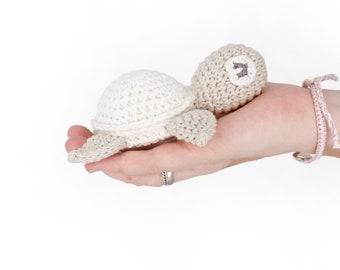 Turtle, cuddle white, crocheted, vegan, cotton, German handmade, free shipping!