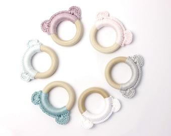 Gripping/biting ring bear ears, 100% cotton, wooden ring, German handicraft, free shipping!