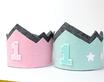Birthday crown 1, 2, 3, Happy Birthday, changeable, pink, mint, German handmade, free shipping!