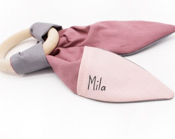 Gripper/bite ring rabbit ears, vegan, personalized, with name, wooden ring, pink, German handmade, free shipping!