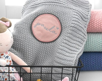 Baby blanket with name / knitted blanket / personalized / knitted / blanket / gift / baptism / birth / blanket